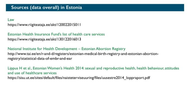 Abort-Report: Sources (data overall) Estonia