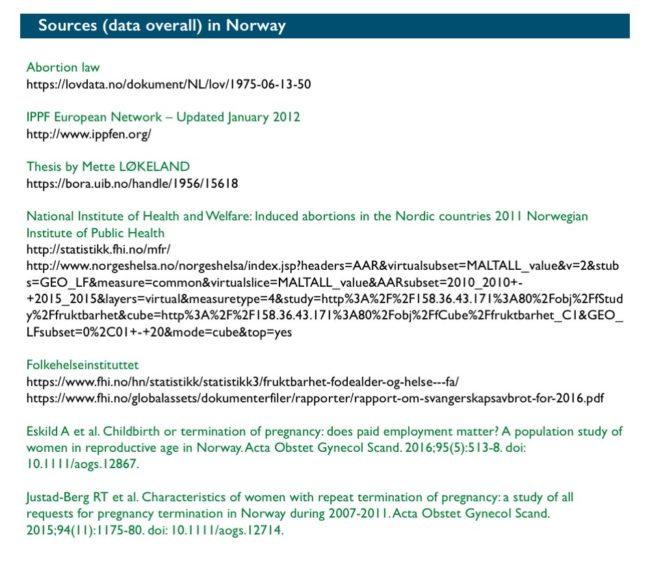 Abort-Report: Sources (data overall) Norway