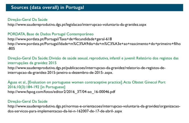 Abort-Report: Sources (data overall) Portugal